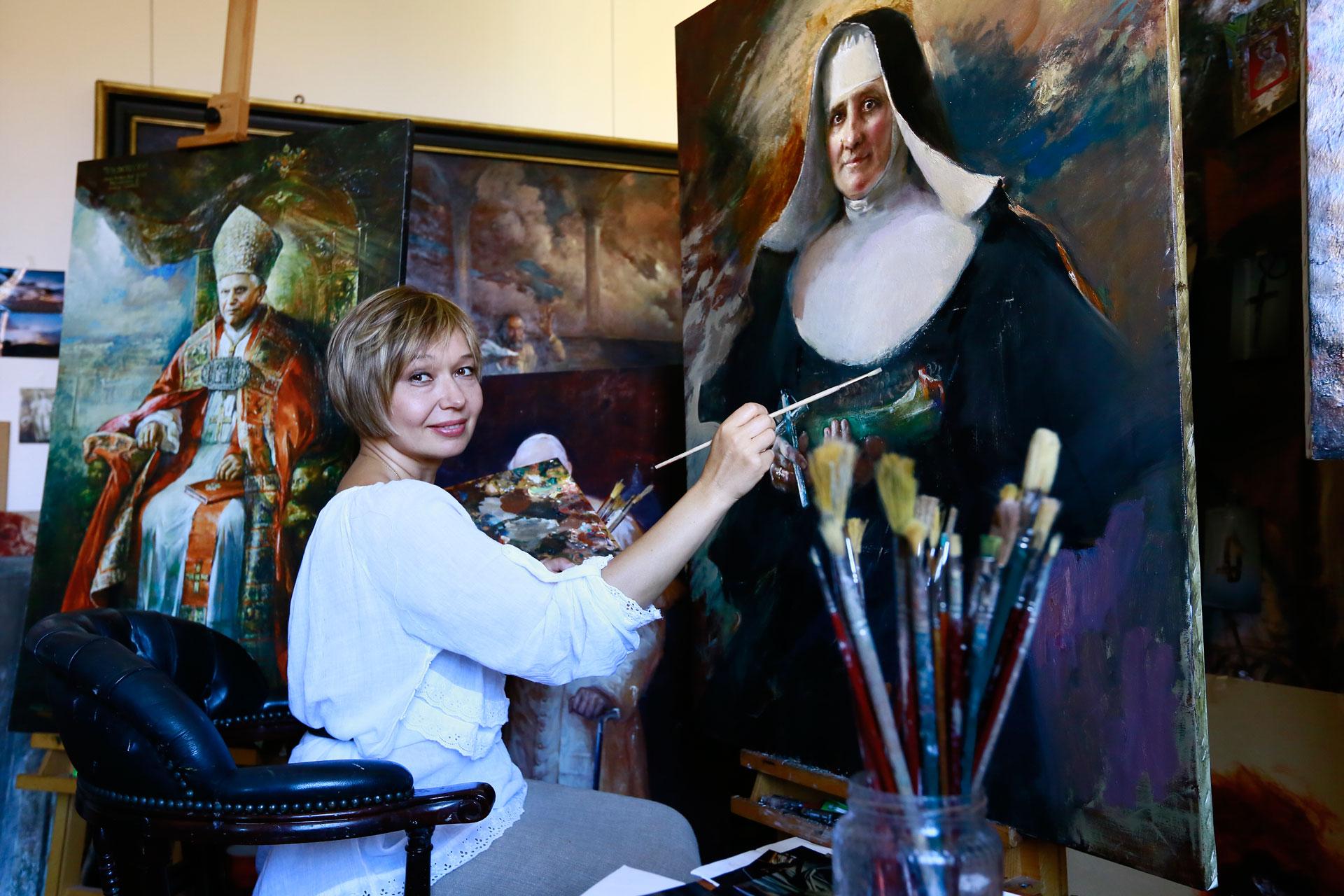 ultimi ritocchi sul quadro diella Beata (ora santificata) Suor Assunta Marchetti
