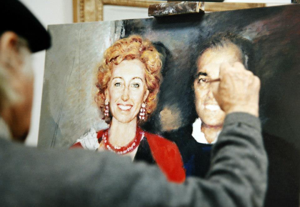 lavorando sul ritratto di Letizia Brichetto Moratti e consorte