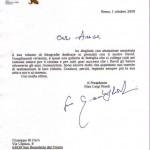 Lettera di Gian Luigi Rondi