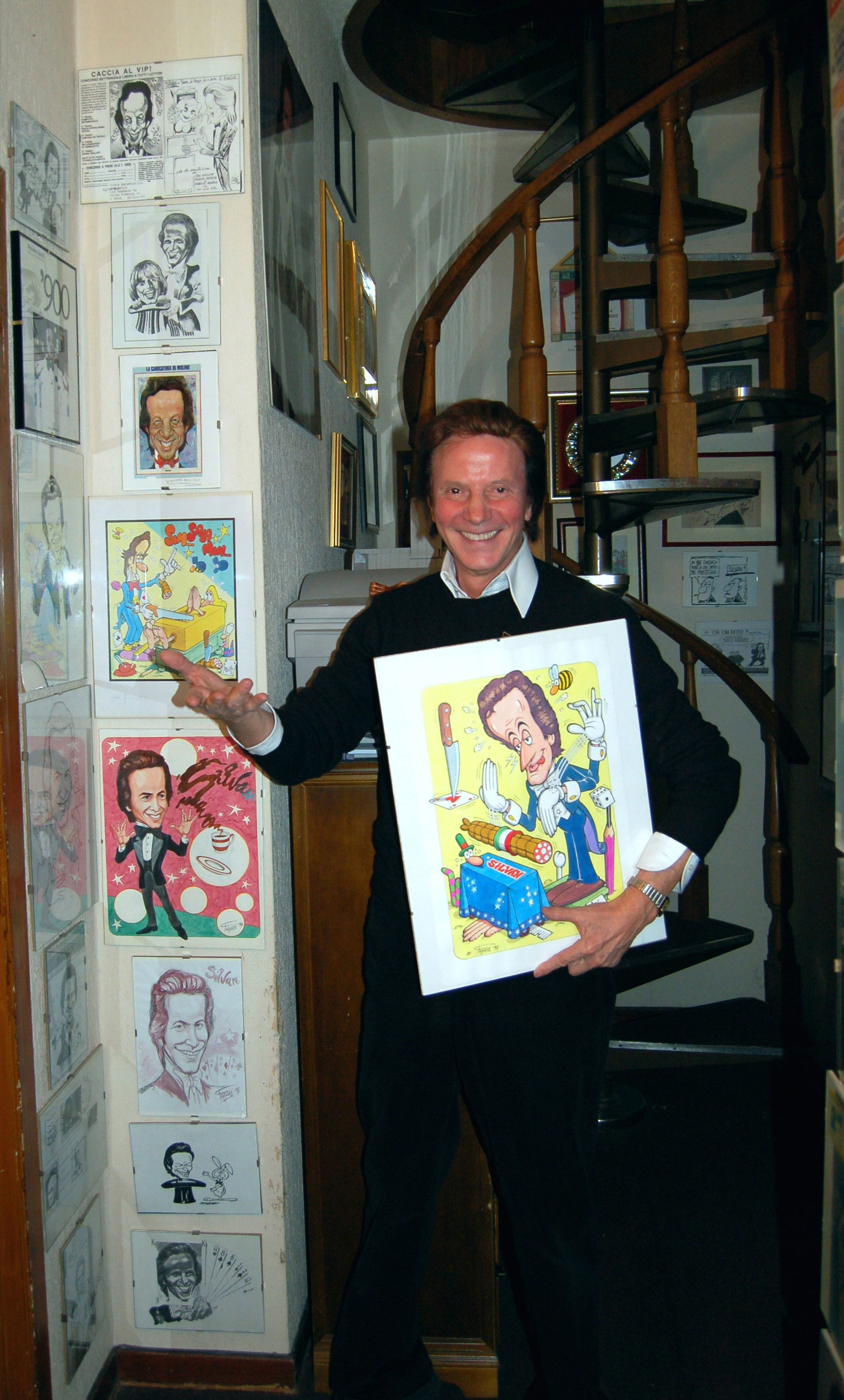 Silvan con una caricatura  di Jacovitti